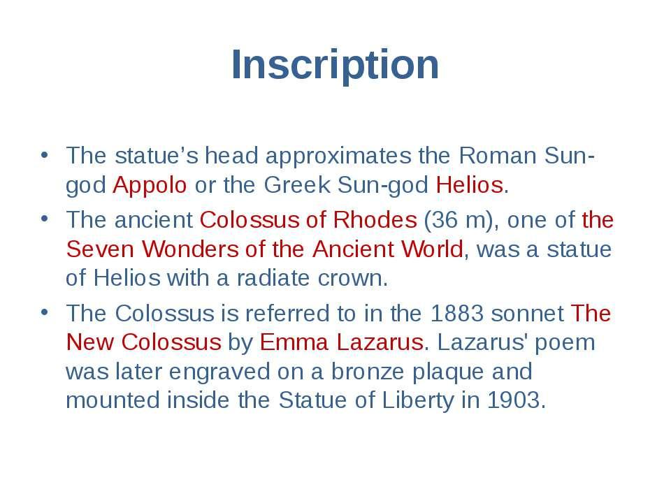 Inscription The statue's head approximates the Roman Sun-god Appolo or the Gr...