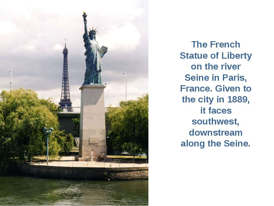 The French Statue of Liberty on the river Seine in Paris, France. Given to th...