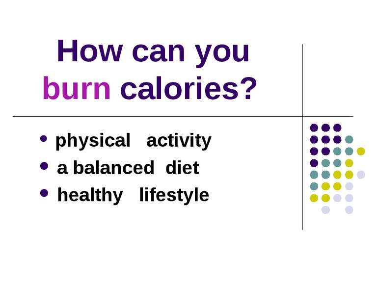 How can you burn calories? physical activity a balanced diet healthy lifestyle