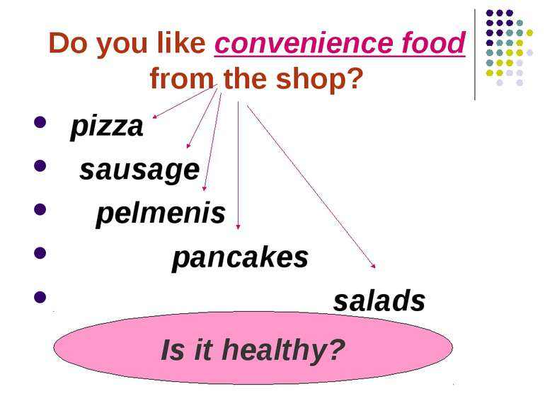 Do you like convenience food from the shop? pizza sausage pelmenis pancakes s...