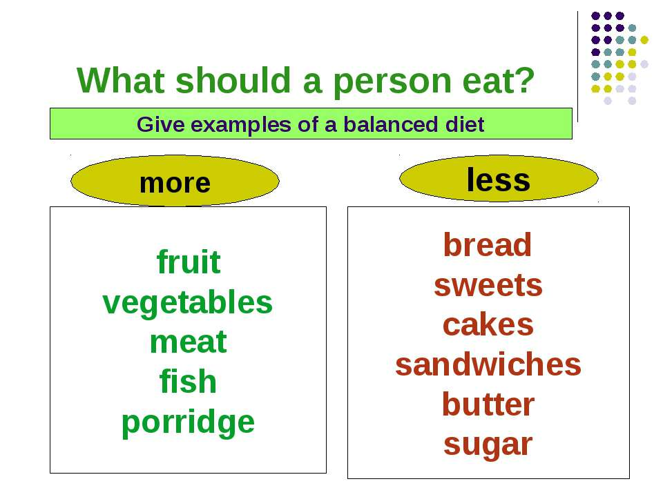 What should a person eat? Give examples of a balanced diet more less fruit ve...