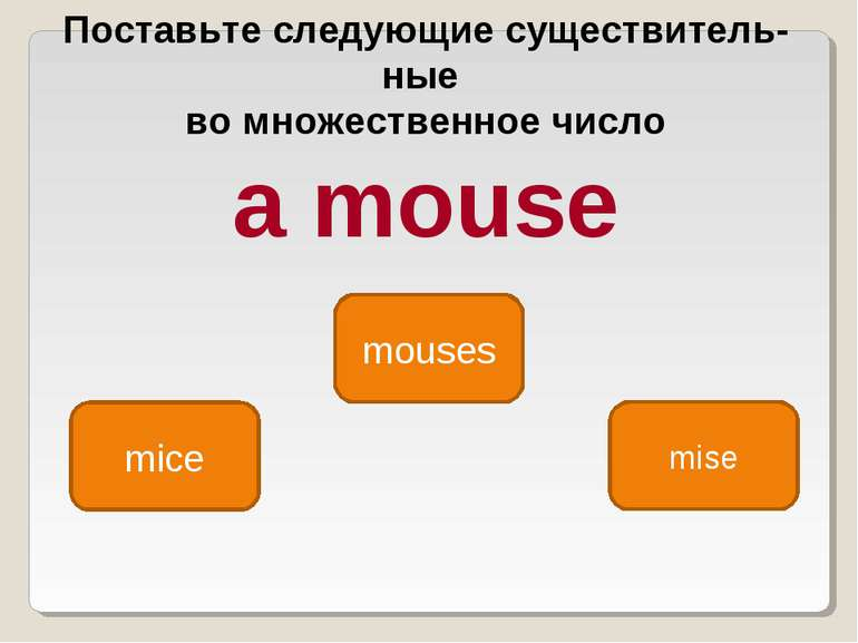 mice mouses mise Поставьте следующие существитель ные во множественное число ...