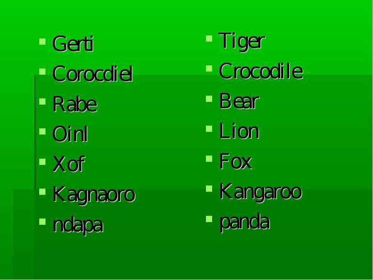 Gerti Corocdiel Rabe Oinl Xof Kagnaoro ndapa Tiger Crocodile Bear Lion Fox Ka...