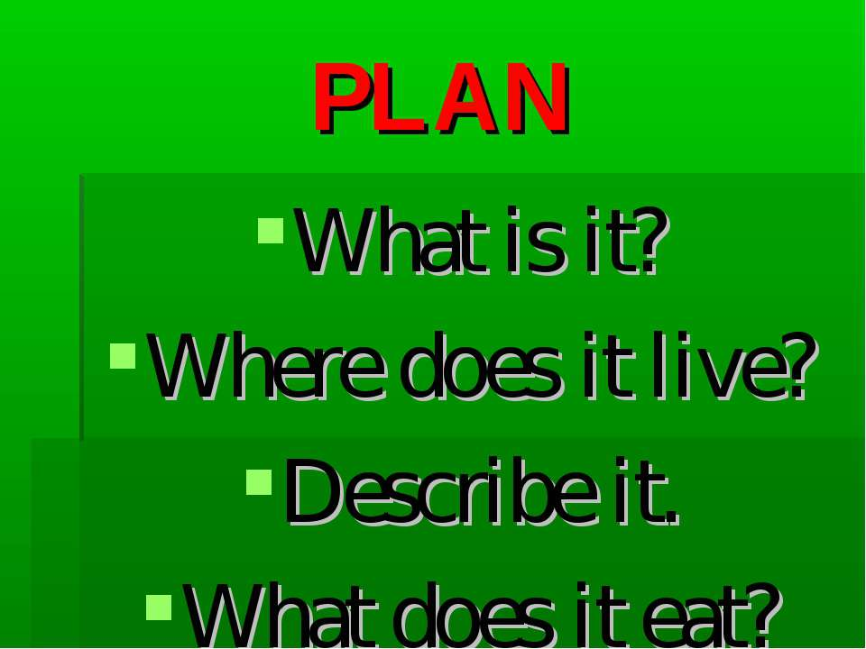 PLAN What is it? Where does it live? Describe it. What does it eat?