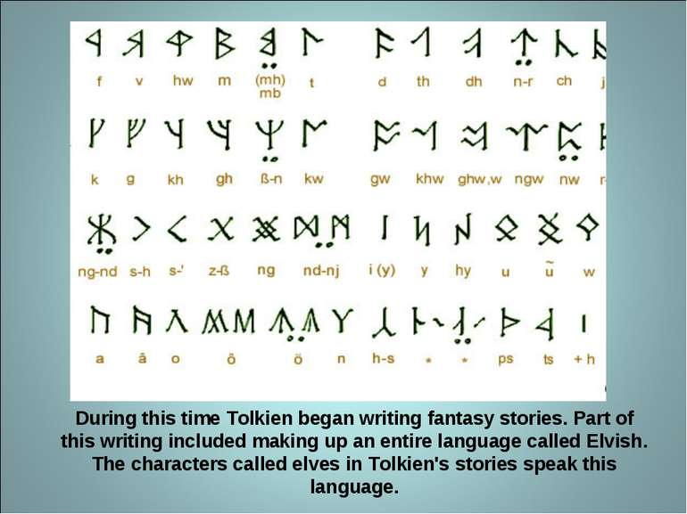 During this time Tolkien began writing fantasy stories. Part of this writing ...