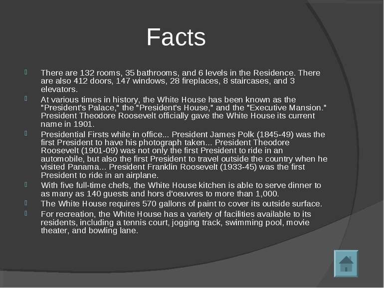 Facts There are 132 rooms, 35 bathrooms, and 6 levels in the Residence. There...
