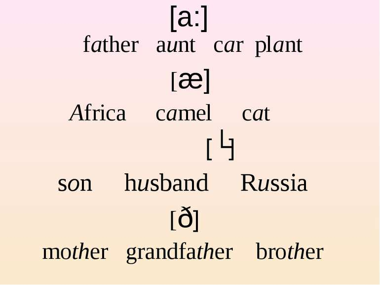 [a:] father aunt car plant [æ] Africa camel cat [ʌ] son husband Russia [ð] mo...
