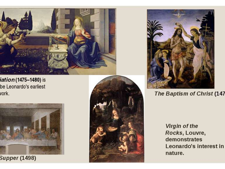 Annunciation(1475–1480) is thought to be Leonardo's earliest complete work. ...