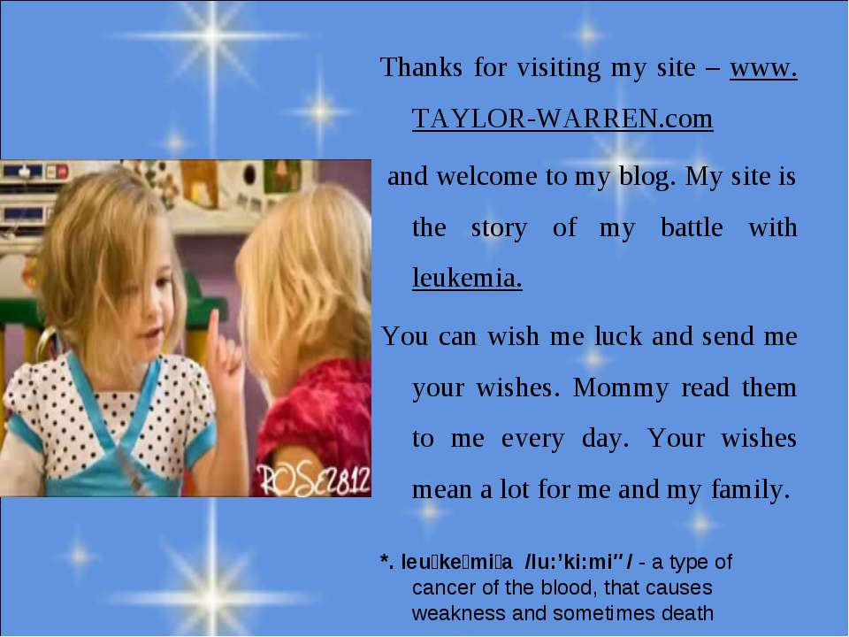 Thanks for visiting my site – www. TAYLOR-WARREN.com and welcome to my blog. ...