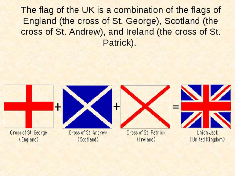 The flag of the UK is a combination of the flags of England (the cross of St....