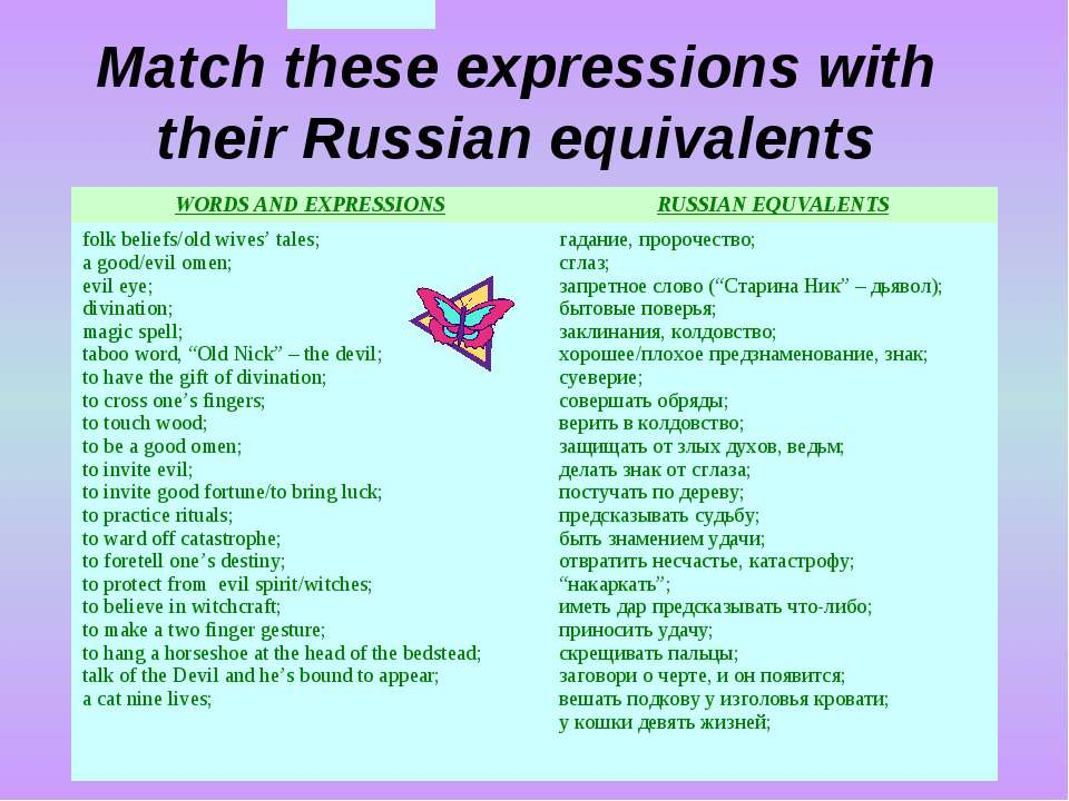 Match these expressions with their Russian equivalents superstitions; WORDS A...
