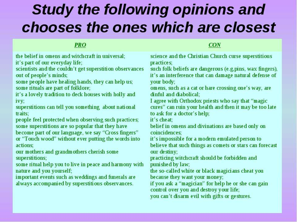Study the following opinions and chooses the ones which are closest to your o...