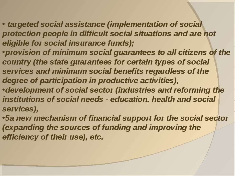 targeted social assistance (implementation of social protection people in dif...