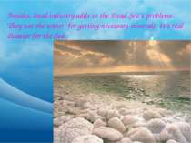 Besides, local industry adds to the Dead Sea's problems. They use the water f...