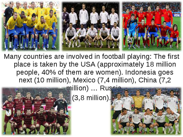 Many countries are involved in football playing: The first place is taken by ...
