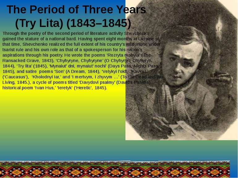 The Period of Three Years (Try Lita) (1843–1845) Through the poetry of the se...