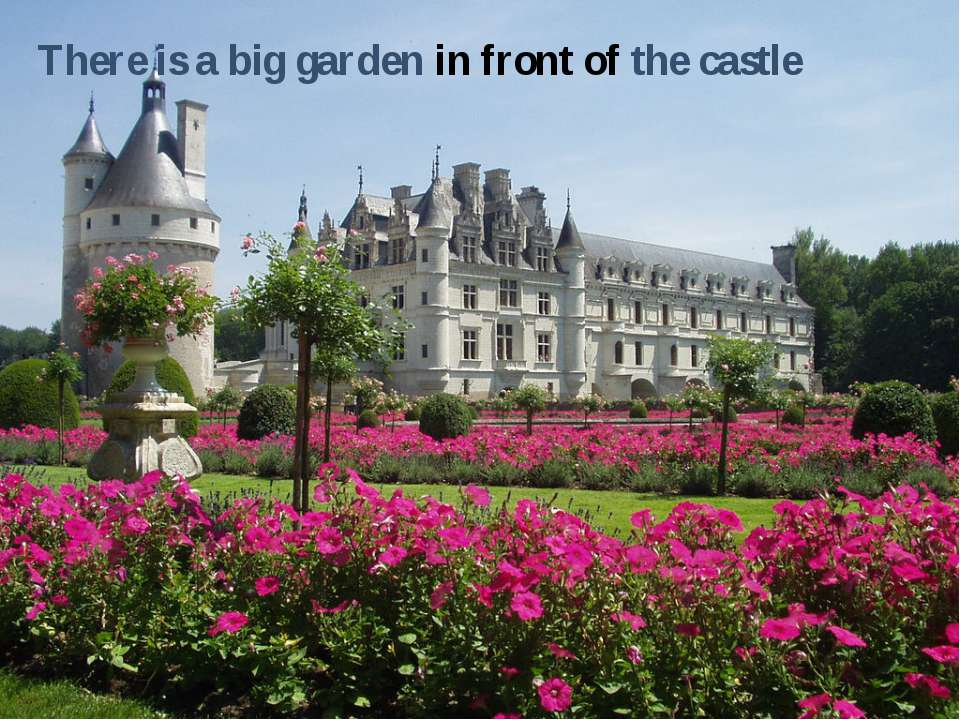 There is a big garden in front of the castle