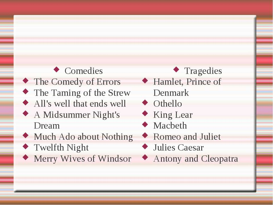 Comedies The Comedy of Errors The Taming of the Strew All's well that ends we...