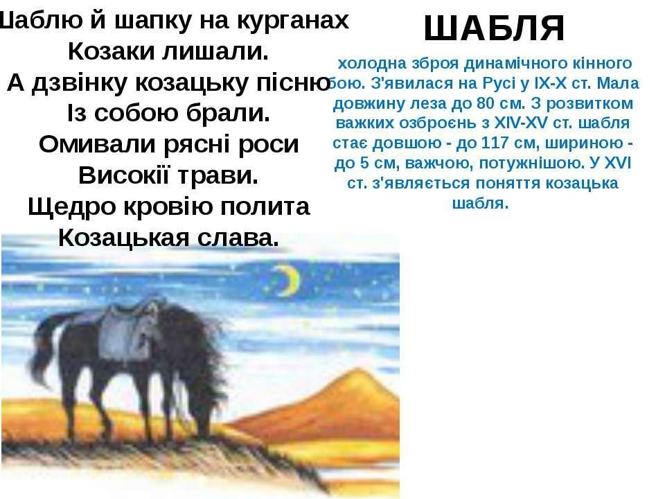холодна зброя динамічного кінного бою. З'явилася на Русі у IX-Х ст. Мала довж...