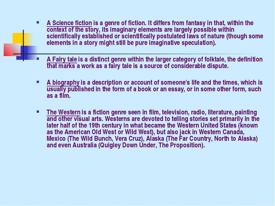 A Science fiction is a genre of fiction. It differs from fantasy in that, wit...