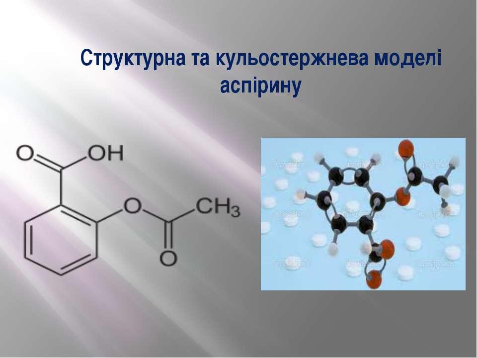 Структурна та кульостержнева моделі аспірину