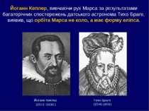 Йоганн Кеплер (1571–1630 ) Тихо Браге (1546-1601) Йоганн Кеплер, вивчаючи рух...