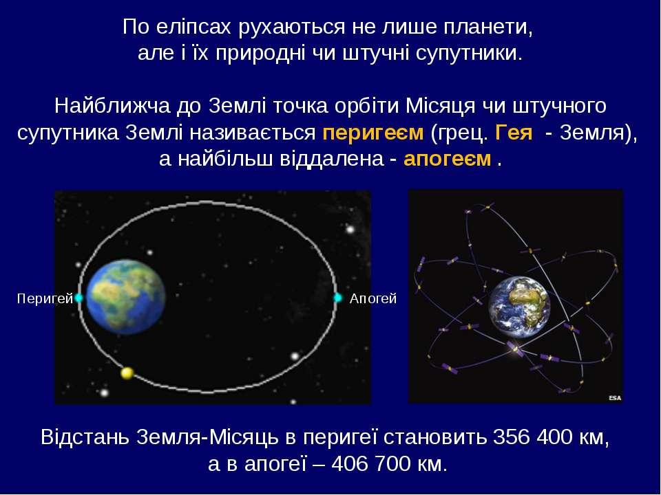 По еліпсах рухаються не лише планети, але і їх природні чи штучні супутники. ...