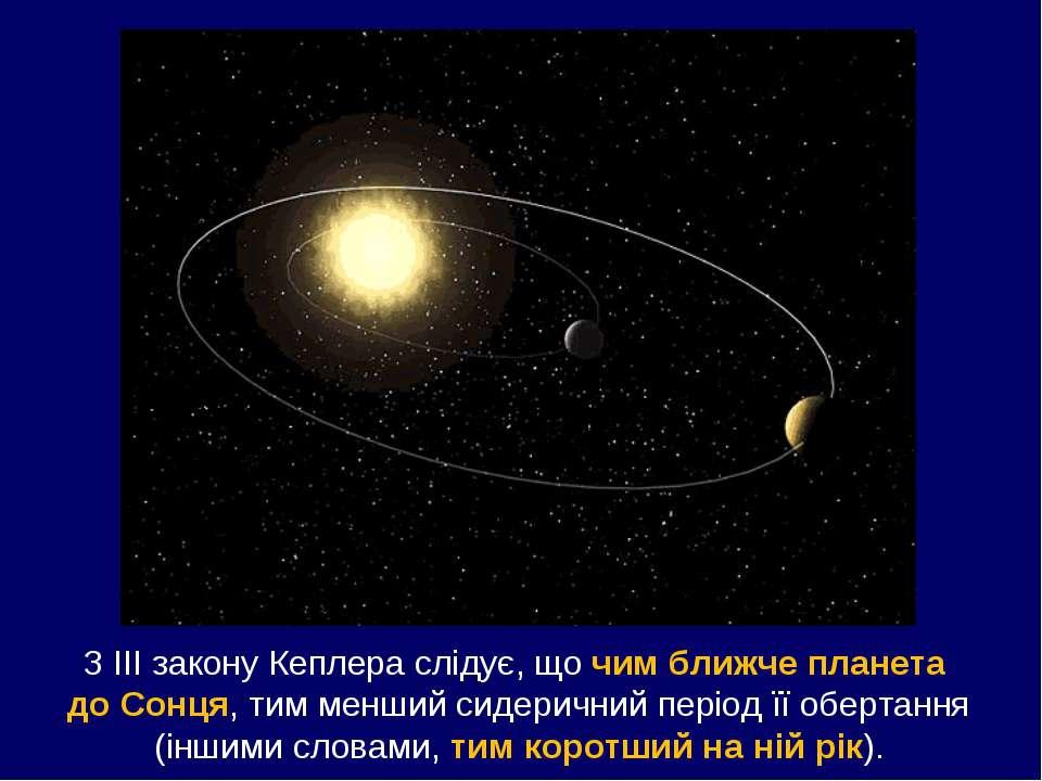 З ІІІ закону Кеплера слідує, що чим ближче планета до Сонця, тим менший сидер...