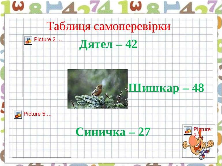 Таблиця самоперевірки Дятел – 42 Шишкар – 48 Синичка – 27