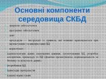 Основні компоненти середовища СКБД апаратне забезпечення програмне забезпечен...