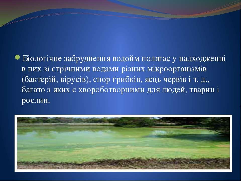 Біологічне забруднення водойм полягає у надходженні в них зі стрічними водами...