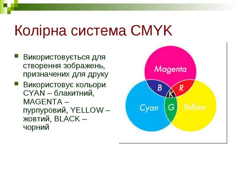Колірна система CMYK Використовується для створення зображень, призначених дл...