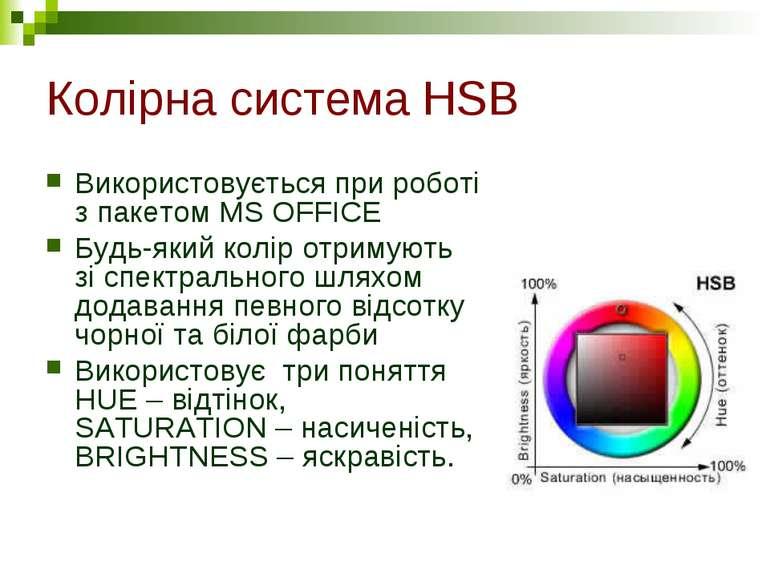 Колірна система HSB Використовується при роботі з пакетом MS OFFICE Будь-який...