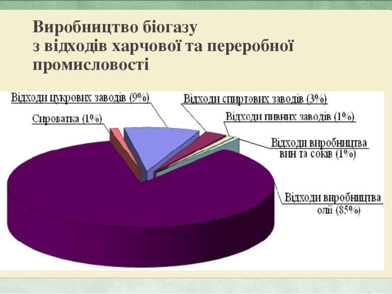 Виробництво біогазу з відходів харчової та переробної промисловості