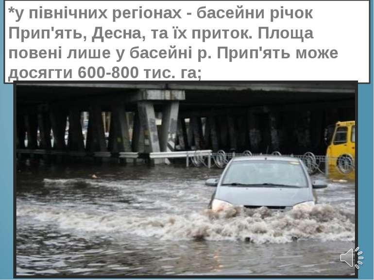 *у північних регіонах - басейни річок Прип'ять, Десна, та їх приток. Площа по...