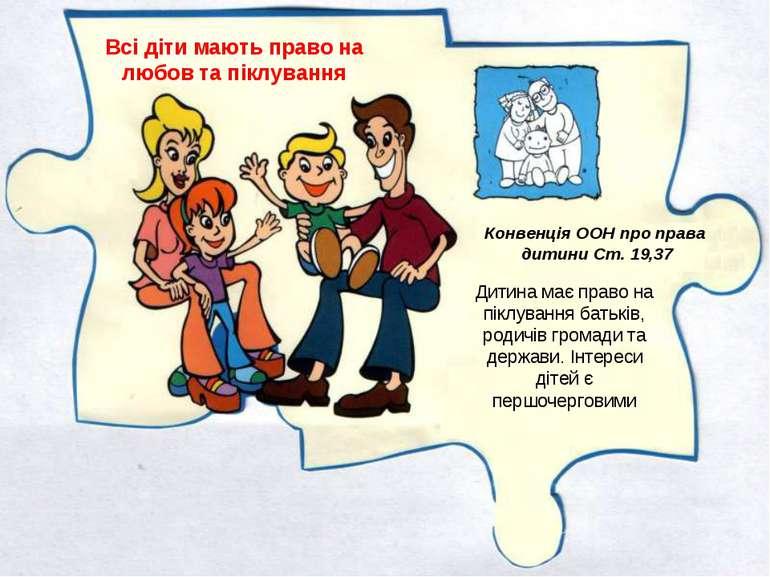 Всі діти мають право на любов та піклування Дитина має право на піклування ба...