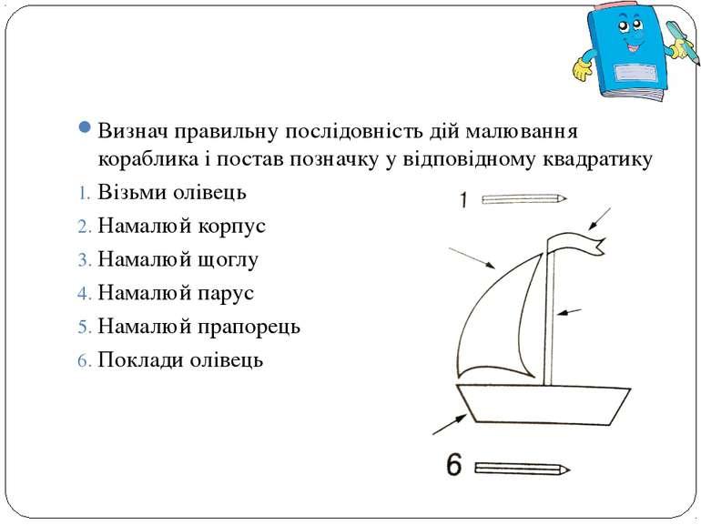 Визнач правильну послідовність дій малювання кораблика і постав позначку у ві...