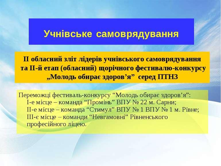 Учнівське самоврядування II обласний зліт лідерів учнівського самоврядування ...