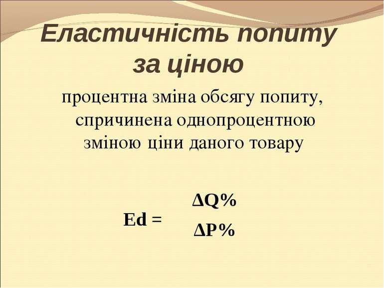 Еластичність попиту за ціною процентна зміна обсягу попиту, спричинена однопр...