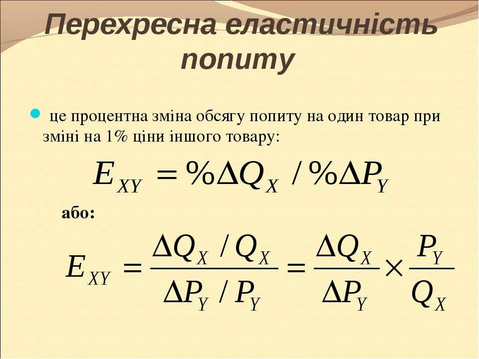Перехресна еластичність попиту це процентна зміна обсягу попиту на один товар...