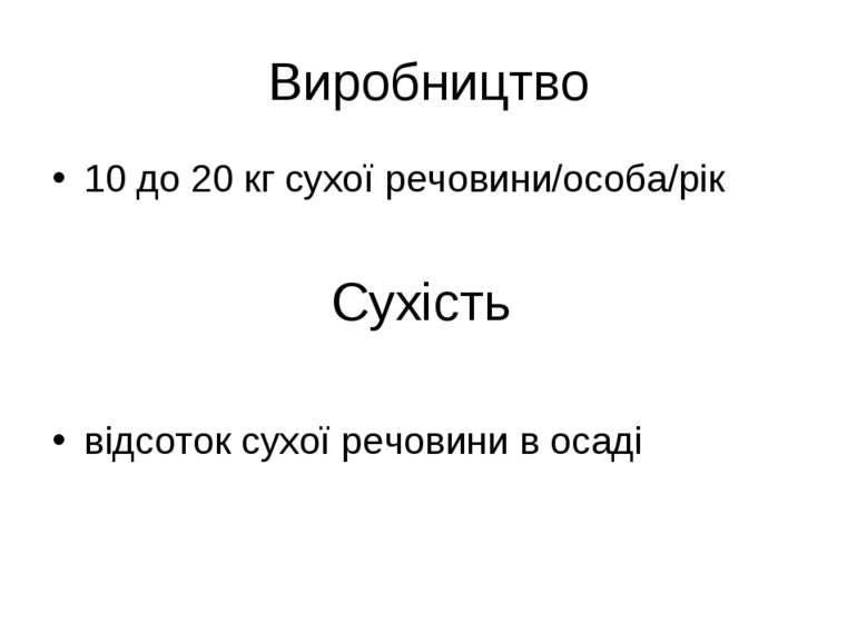 Виробництво 10 до 20 кг сухої речовини/особа/рік Сухість відсоток сухої речов...