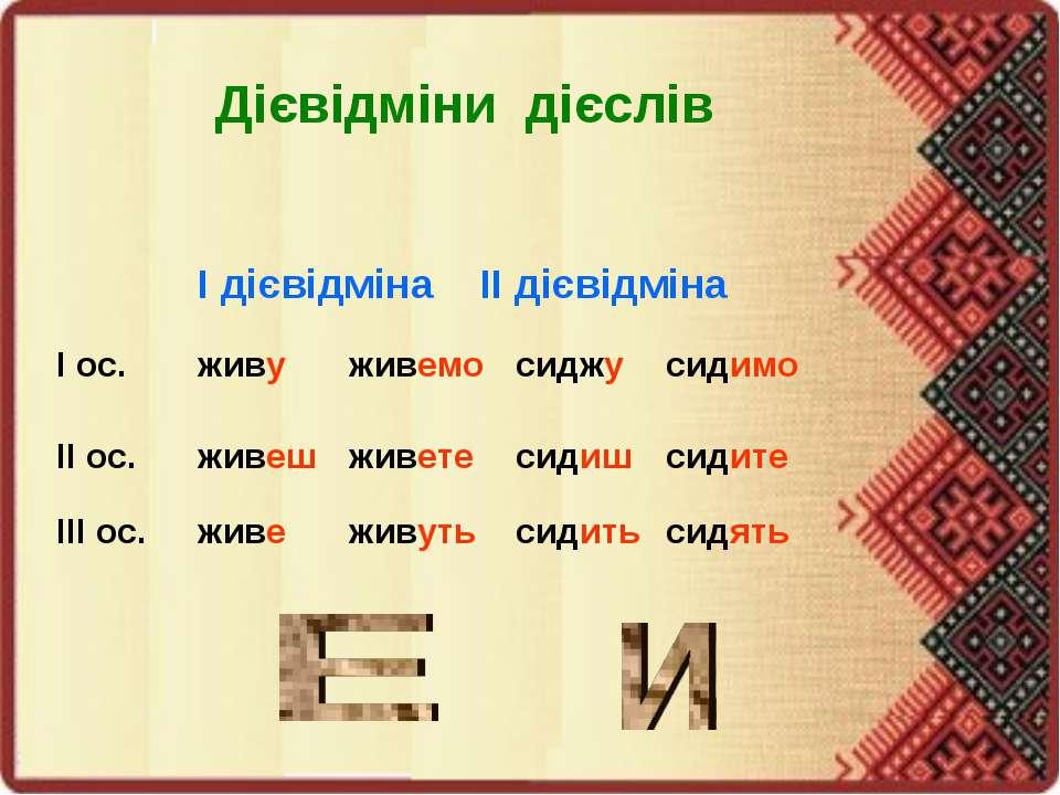 Дієвідміни дієслів І дієвідміна ІІ дієвідміна І ос. живу живемо сиджу сидимо ...