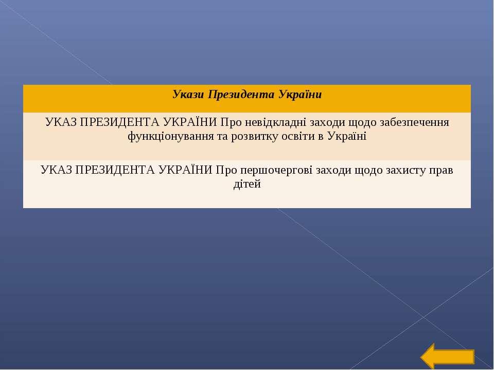 Укази Президента України УКАЗ ПРЕЗИДЕНТА УКРАЇНИ Про невідкладні заходи щодо ...