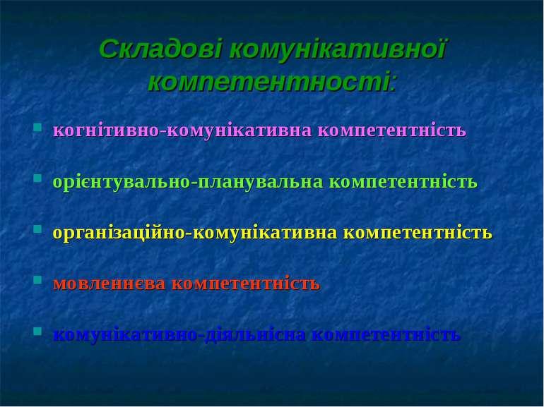 Складові комунікативної компетентності: когнітивно-комунікативна компетентніс...