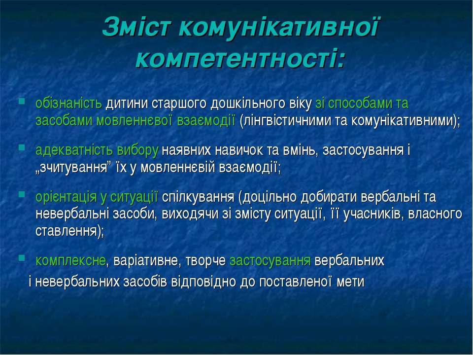 Зміст комунікативної компетентності: обізнаність дитини старшого дошкільного ...