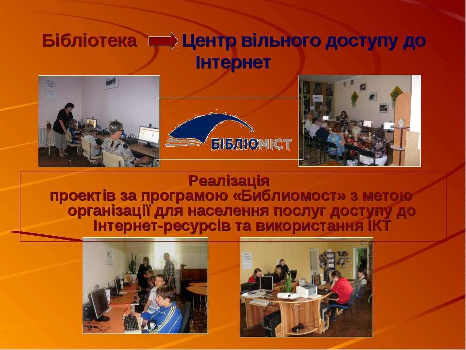 Бібліотека Центр вільного доступу до Інтернет Реалізація проектів за програмо...
