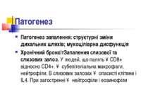 Патогенез Патогенез запалення: структурні зміни дихальних шляхів; мукоціліарн...