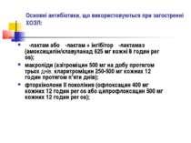 Основні антибіотики, що використовуються при загостренні ХОЗЛ: β-лактам або β...