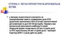 СТУПІНЬ II- ЛЕГКА ПЕРСИСТУЮЧА БРОНХІАЛЬНА АСТМА у випадку недостатнього контр...