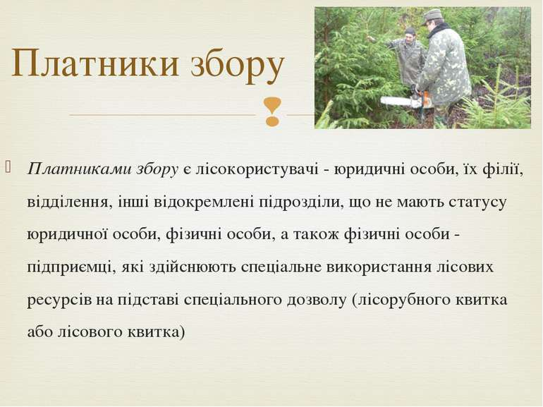 Платники збору Платниками збору є лісокористувачі - юридичні особи, їх філії,...